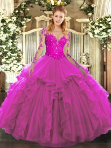 Tulle Scoop Long Sleeves Lace Up Lace and Ruffles Quince Ball Gowns in Fuchsia