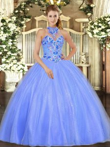 Captivating Blue Ball Gowns Embroidery 15th Birthday Dress Lace Up Tulle Sleeveless Floor Length
