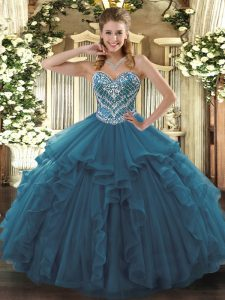 Glittering Sweetheart Sleeveless Quinceanera Gowns Floor Length Beading and Ruffles Teal Tulle