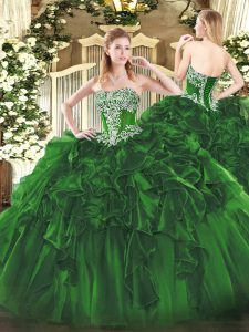 Hot Sale Dark Green Strapless Lace Up Beading and Ruffles Vestidos de Quinceanera Sleeveless