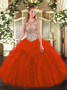 Adorable Red Scoop Lace Up Beading and Ruffles Quinceanera Dress Sleeveless