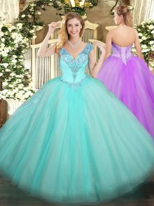 High Class V-neck Sleeveless Lace Up Quince Ball Gowns Aqua Blue Tulle