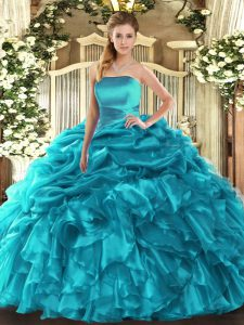 Gorgeous Teal Lace Up Strapless Ruffles and Pick Ups Sweet 16 Quinceanera Dress Organza Sleeveless