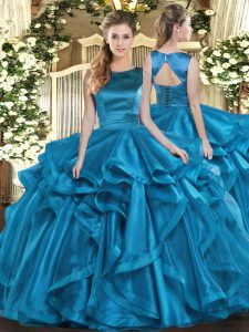 Beauteous Teal Ball Gowns Organza Scoop Sleeveless Ruffles Floor Length Lace Up Quince Ball Gowns
