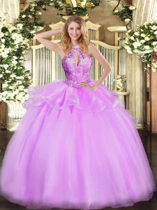 Modest Lilac Sleeveless Beading Floor Length Sweet 16 Quinceanera Dress