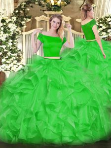Short Sleeves Organza Floor Length Zipper Quince Ball Gowns in Green with Appliques and Ruffles