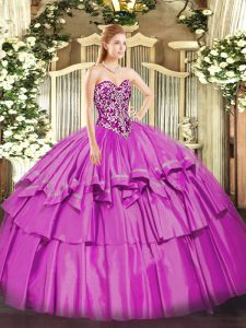 Most Popular Sleeveless Organza and Taffeta Floor Length Lace Up Quince Ball Gowns in Lilac with Beading and Ruffled Layers