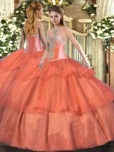 Floor Length Ball Gowns Sleeveless Coral Red Quinceanera Gown Lace Up
