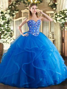 Modern Floor Length Lace Up Quinceanera Gowns Royal Blue for Military Ball and Sweet 16 and Quinceanera with Embroidery and Ruffles