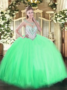 Deluxe Apple Green Tulle Zipper Scoop Sleeveless Floor Length Quinceanera Dresses Beading