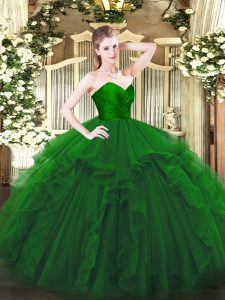 Floor Length Zipper Quince Ball Gowns Green for Military Ball and Sweet 16 and Quinceanera with Ruffles