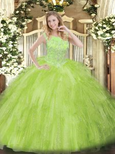 Yellow Green Sweet 16 Quinceanera Dress Military Ball and Sweet 16 and Quinceanera with Beading and Ruffles Scoop Sleeveless Zipper