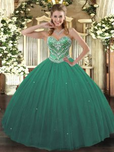 Beading Quinceanera Dress Turquoise Lace Up Sleeveless Floor Length