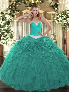 Floor Length Turquoise Ball Gown Prom Dress Organza Sleeveless Appliques and Ruffles