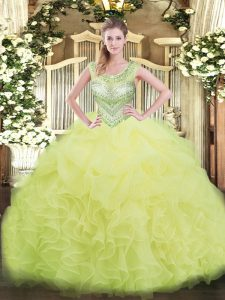 Sweet Beading and Ruffles and Pick Ups 15th Birthday Dress Yellow Green Lace Up Sleeveless Floor Length