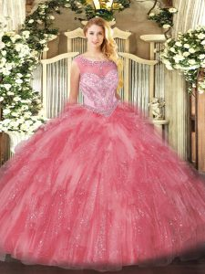 Rose Pink Sleeveless Organza Zipper Quinceanera Dress for Sweet 16 and Quinceanera