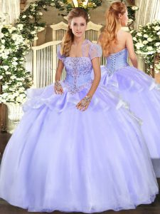 Sleeveless Floor Length Appliques Lace Up Sweet 16 Dress with Lavender