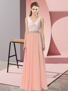 Top Selling Sleeveless Backless Floor Length Beading Evening Dress