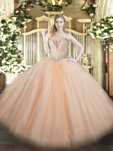 Peach Ball Gowns Beading Sweet 16 Dresses Lace Up Tulle Sleeveless Floor Length