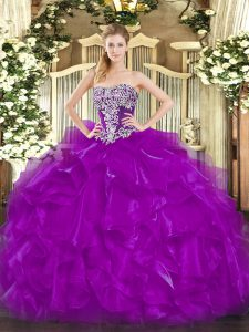 Top Selling Sleeveless Beading and Ruffles Lace Up Sweet 16 Quinceanera Dress