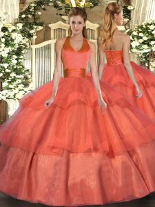 Stunning Orange Red Quince Ball Gowns Military Ball and Sweet 16 and Quinceanera with Ruffled Layers Halter Top Sleeveless Lace Up
