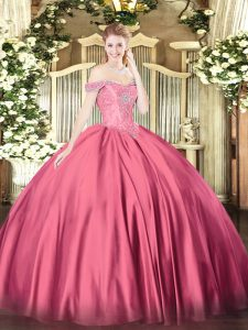 Most Popular Floor Length Hot Pink Ball Gown Prom Dress Off The Shoulder Sleeveless Lace Up