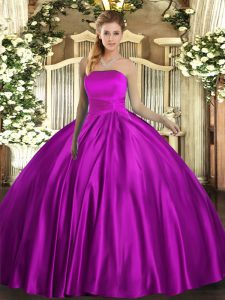 High End Sleeveless Satin Floor Length Lace Up Quinceanera Dresses in Fuchsia with Ruching