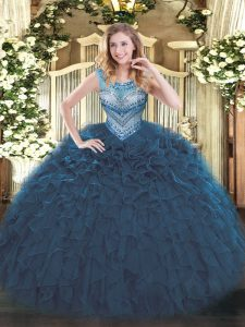 Great Sleeveless Beading and Ruffles Lace Up Sweet 16 Dress