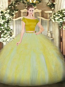 Tulle Off The Shoulder Short Sleeves Zipper Ruffles Vestidos de Quinceanera in Gold