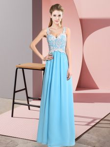 Amazing Floor Length Empire Sleeveless Baby Blue Prom Dress Zipper