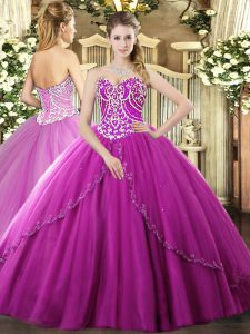 Fuchsia Sweet 16 Dress Tulle Brush Train Sleeveless Beading