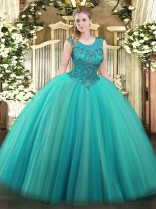 Fantastic Scoop Sleeveless Quinceanera Dresses Floor Length Beading Turquoise Tulle