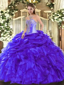 Floor Length Lace Up Quinceanera Gowns Blue for Military Ball and Sweet 16 and Quinceanera with Beading and Ruffles