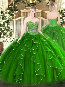 Green Ball Gowns Sweetheart Sleeveless Tulle Floor Length Lace Up Beading and Ruffles Ball Gown Prom Dress