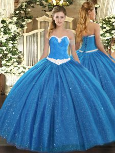Great Blue Tulle Lace Up Sweet 16 Quinceanera Dress Sleeveless Floor Length Appliques