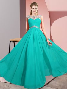 New Style Empire Prom Dresses Turquoise Scoop Chiffon Sleeveless Floor Length Clasp Handle