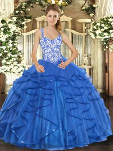 Blue Lace Up Straps Beading and Appliques and Ruffles 15 Quinceanera Dress Tulle Sleeveless