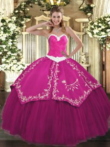 Elegant Sleeveless Satin and Tulle Floor Length Lace Up Quinceanera Dresses in Fuchsia with Appliques and Embroidery