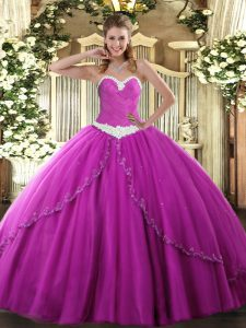 Chic Fuchsia Ball Gowns Tulle Sweetheart Sleeveless Appliques Lace Up Sweet 16 Dresses Brush Train