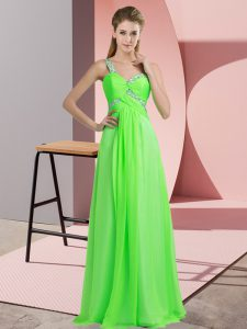 Green Chiffon Lace Up Sleeveless Floor Length Beading