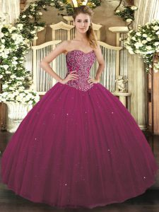 Fuchsia Tulle Lace Up Quinceanera Gowns Sleeveless Floor Length Beading