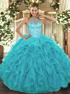 Stylish Aqua Blue Halter Top Neckline Beading and Embroidery and Ruffles Sweet 16 Dress Sleeveless Lace Up