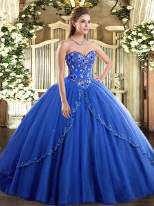 Glamorous Blue Sweetheart Lace Up Appliques and Embroidery Vestidos de Quinceanera Brush Train Sleeveless