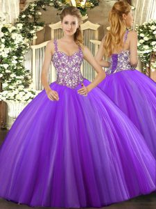 Fitting Lavender Straps Lace Up Beading and Appliques Quinceanera Dress Sleeveless