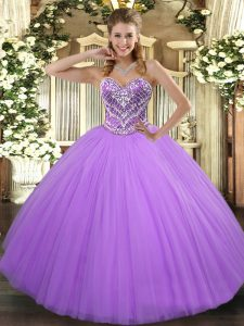Lovely Lavender Sleeveless Tulle Lace Up Quinceanera Gowns for Military Ball and Sweet 16 and Quinceanera