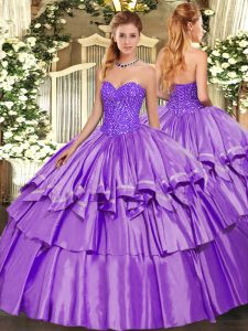 Comfortable Lavender Sleeveless Organza and Taffeta Lace Up Sweet 16 Dress for Military Ball and Sweet 16 and Quinceanera