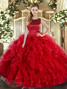 Floor Length Red Quinceanera Dress Scoop Sleeveless Lace Up