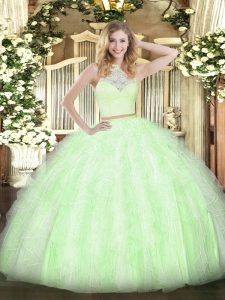 Designer Yellow Green Zipper 15 Quinceanera Dress Lace and Ruffles Sleeveless Floor Length