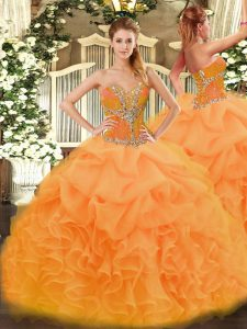Elegant Floor Length Orange Quinceanera Gowns Sweetheart Sleeveless Lace Up