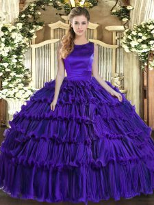 Purple Organza Lace Up Scoop Sleeveless Floor Length Vestidos de Quinceanera Ruffled Layers